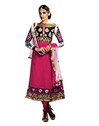 Lookslady Brand Women's Clothing Georgette Pink Semi Stitched Salwar Kamiz Dupatta Suit | Quality Checked | Genuine Product | Not a ready made dress