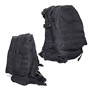 Black Military Army Rucksack Backpack Shoulder Bag Travel Camping Hiking Outdoor