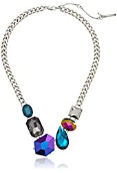 "Kenneth Cole New York ""Teal Petrol"" Mixed Geometric Faceted Bead Necklace"