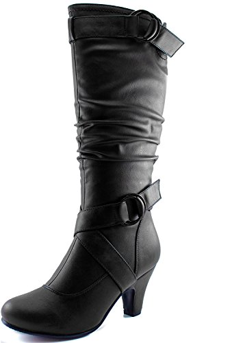 Dailyshoes Women's Slouchy Mid Calf Strappy Boots with Ankle