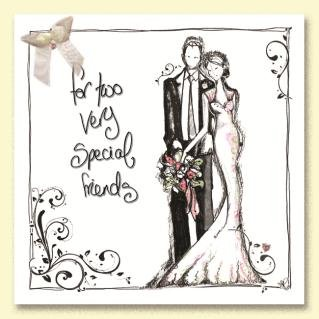 for two very special friends , Handmade Wedding Card