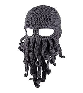 Amurleopard Unisex Barbarian Knit Beanie Octopus (One size, grey#) from Amurleopard