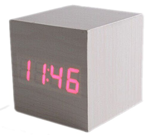 Makerfire Cube Mini Red Led Grey Base Wooden Alarm Clock With Thermometer Time Display And Sound Activated