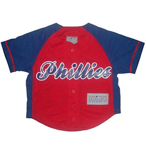 Mlb Philadelphia Phillies Utley #26 Boys Button Down Baseball Jersey Xs(4/5) Red & Blue front-1003579