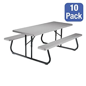 Rectangle Folding Picnic Tables - Pack of 10 - Putty (8' L) from Lifetime Products