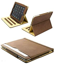 New S-Tech for Apple iPad 2 3 4 Generation Brown Soft Leather Wallet Smart Cover with Sleep / Wake Feature Flip Case