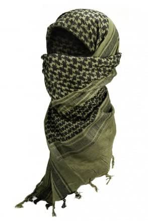 Shemagh Keffieh Cheche US Army - Foulard Palestinien - Coloris Kaki & Noir - Airsoft - Paintball - Outdoor