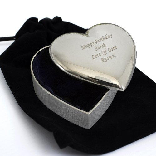 Laser Engraved Personalised Silver Heart Trinket Box - Bridesmaid, Birthday, Wedding