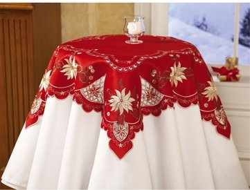 Elegant Christmas Red Embroidered Square Table Cover Cloth Square Holiday Decor Brand New