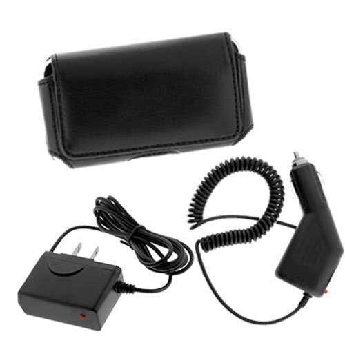 Black Horizontal Pouch Carrying Case + Car Charger + Home Travel Charger for Verizon Motorola Droid A855 Cell Phone