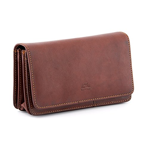 Flap Over Triple Gusset Italian Leather Tony Perotti Purse with Inside Zip Sections