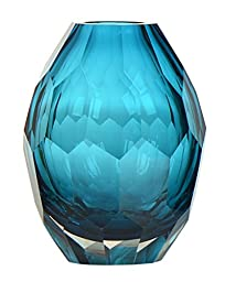 CASAMOTION Diamond Solid Color Hand Blown Art Glass Vase, Gift Box, Blue