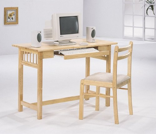 Buy Low Price Comfortable Natural Wood Home Office Computer PC Desk Set Chair (B0012L3RQA)