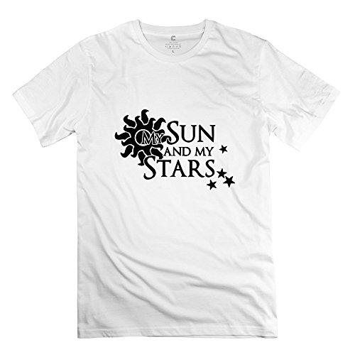 Zya6W Valentine'S Day Men Sun Stars Family T-Shirt White L