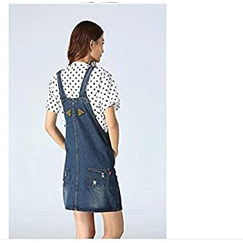 Skirt BL Women's Blue Vintage High Waist Suspender Denim Overall Mini Jean Dress