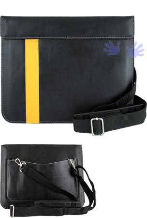 iGg messengerPad Leather Carry Bag For iPad - Yellow Line (Fits iPad 1 and iPad 2) (Free HHI Stylus Pen)