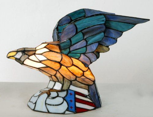 Tiffany Style Bald Eagle Table Lamp