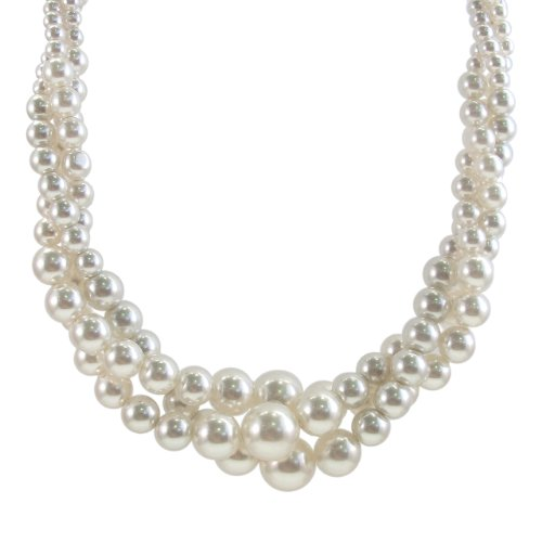 Cream Simulated Three Strand Twisted Pearl Necklace, 18