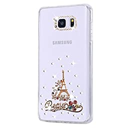 Samsung S7 Edge Case, Ebest Bling Handmade Rhinstone Back Cover Crytal Clear Soft TPU Silicone Case for Samsung Galaxy S7 Edge, Beauty Tower