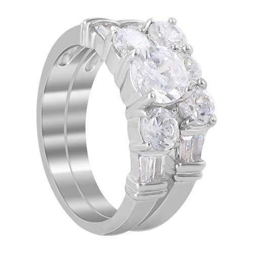 Sterling Silver 6mm round Clear Cubic Zirconia 5mm Engagement Band Ring Size 8