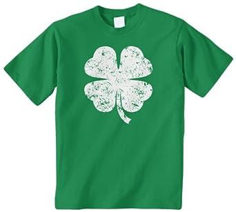 Threadrock Big Boys' Distressed Four Leaf Clover Youth T-Shirt XS Kelly Green