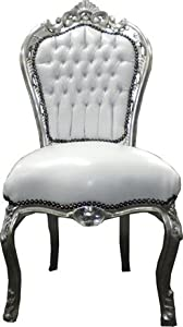 Chaise baroque salle manger blanc argent for Chaise salle a manger baroque