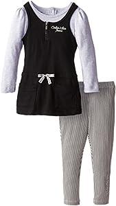 Calvin Klein Little Girls' Jersey Mock Twofer Tunic Set, Black/Oatmeal, 6