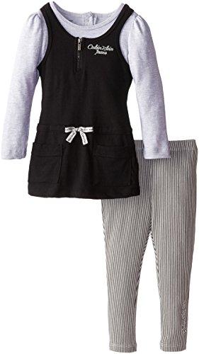 Calvin Klein Little Girls' Jersey Mock Twofer Tunic Set, Black/Oatmeal, 6 front-462483