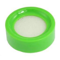 Water & Wood Green Plastic Round Case White Sponge Finger Wet Appliance for Money Casher