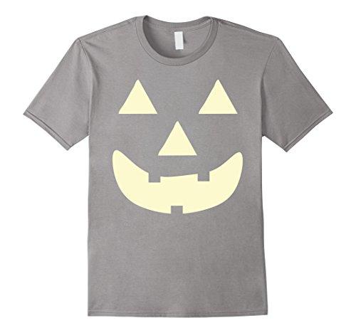 Men's JACK O' LANTERN PUMPKIN Face Halloween Costume T-Shirt Large Slate (Classic Jack O Lantern)
