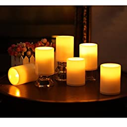 ELEOPTION Indoor/Outdoor Flameless Resin Pillar led Candle with 4 & 8 Hour Timer (6)