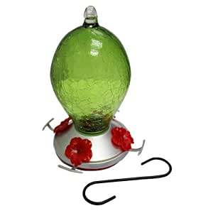 Heath Outdoor Products HUM135 Emerald Glass Hummingbird Bird Feeder