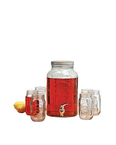Circleware 7-Piece Country Beverage Dispenser & Mason Jar Set, Clear