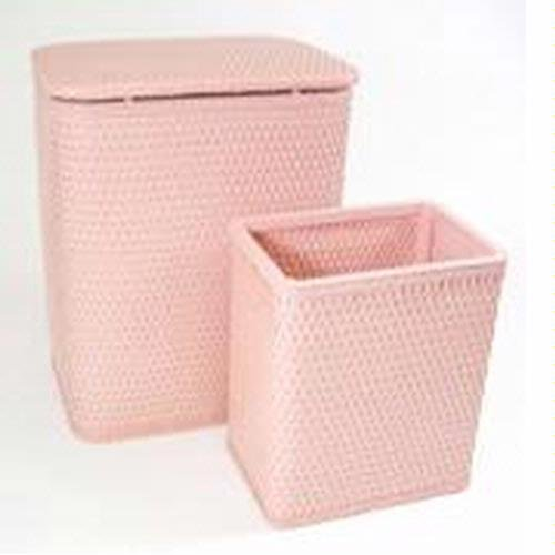 Chelsea Pattern Wicker Nursery Hamper and Matching Wastebasket Color: Crystal Pink