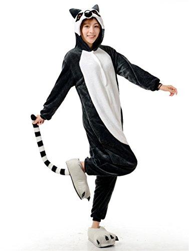 Evage Pitaya Funny Adult Onesies Pajamas for Women Animal Pajamas One Piece (S, Ring-Tailed Lemur) (Funny Onesie Adults)