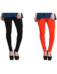 Leggings Free Size Cotton Lycra Churidar Leggings - Pack Of 2 Of Black & Orange Colour By SMEXY
