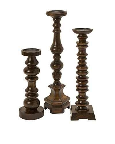 Set Of 3 Nilay Wood Candleholders, Brown