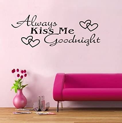 WOW!STickeRs Black Always Kiss Me Goodnight Wall Decal Sticker Home Art