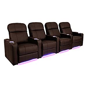 Seatcraft venetian brown bonded leather home theater seating row of 4 seats Home theater furniture amazon