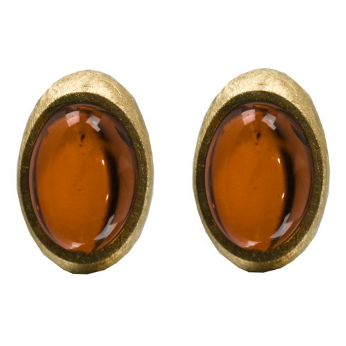 French Collection Cherry Amber and 24K Gold Plated Sterling Silver Oval Earrings