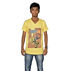 revin yellow with blue colour graphic tshirt