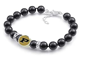 Purdue Boilermakers Premium Black Pearl Bracelet Jewelry. Officially Licensed High... by Collegiate Beads
