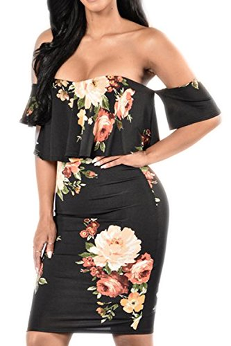 Pretid Sexy Women Floral Off Shoulder Ruffle Plain Stretch Bodycon Midi Dress