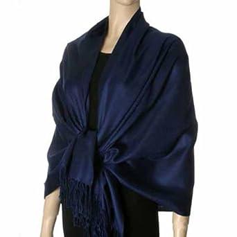 Navy Blue Glamorous Pashmina Shawl at Amazon Women's Clothing store