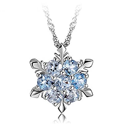 findout ladies swarovski element sterling silver diamond blue crystal snowflake pendant necklace .for women girls children.(f1465)