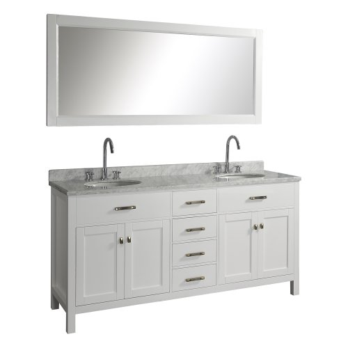 Virtu USA MD-2072-WMRO-WH Caroline 72-Inch Double Sink Bathroom Vanity with Italian White Carrera Marble Countertop and Mirror, White Finish
