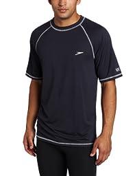 Speedo Men\'s UPF 50+ Easy Short Sleeve Rashguard Swim Tee, New Navy, 3X