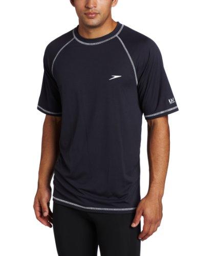 Speedo Men's UPF 50+ Easy Short Sleeve Rashguard Swim Tee, New Navy, XX-Large