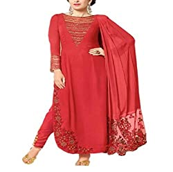 Wonder Villa Women's Faux Georgette Semi-Stitched Dress Material - ELIZA 5003_Red