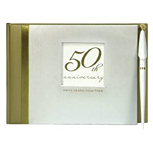 50th Wedding Anniversary Gift Ideas For Guests : Guest Book with Pen, Golden 50th Anniversary Wedding Anniversary ...
